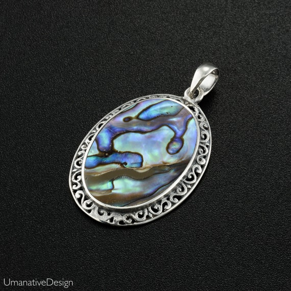 Oval Abalone pendant. abalone shell necklace. blue oval necklace. paua necklace. beach necklace. shell necklace. surfer jewelry.