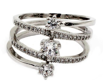 Fashion surround silver crystal ring