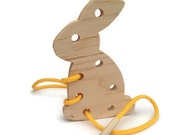 Easter Bunny - Lacing Toy - Easter Gift for Kids - Wooden Toys for Toddlers - Montessori Toys - Wood Easter Bunny - Easter Basket Stuffers