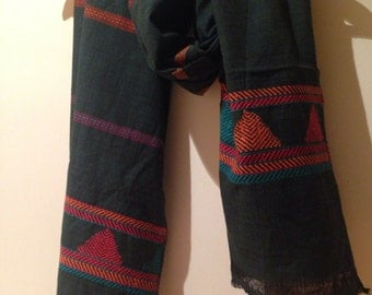 Handwoven dongria tribal scarf / tribal scarf / tribal stole / green scarf