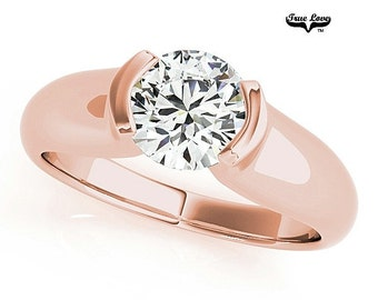 Engagement Ring  1.00 Carat 6.5mm  Solitaire Forever one Round Brilliant Cut  Moissanite  14 kt. Rose Gold #7612