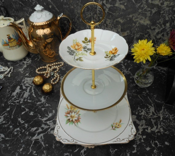 SALE 20% Off.....Vintage MISMATCHED Three Tier CAKE Stand, Gold Roses and Marguerite Daisies on White Bone China 1960's