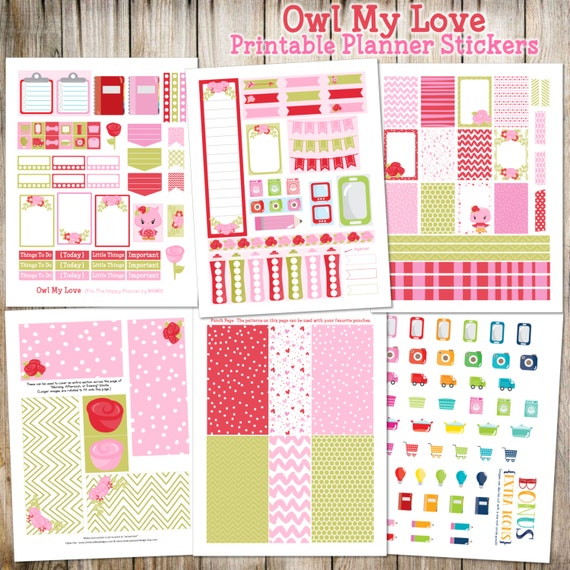 """Valentine's Day { February } """"Owl My Love"""" Printable Planner Stickers - 6 pages!  (Made to fit The Happy Planner by MAMBI)"""