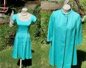 I Magnin Dress And Coat Pair Size Small Turquoise Aqua Blue