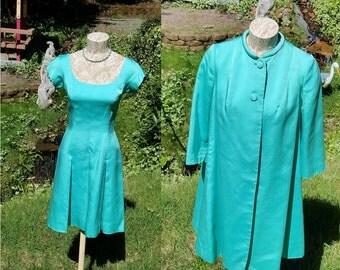 I Magnin Dress And Coat Pair Size Small Turquoise Aqua Blue