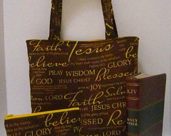 Bible Tote Bag - Inspirational Tote Bag - Scripture Tote Bag - Bible Study Tote - Faith Bag - Faith Tote - Church Tote - Bible Verse Fabric