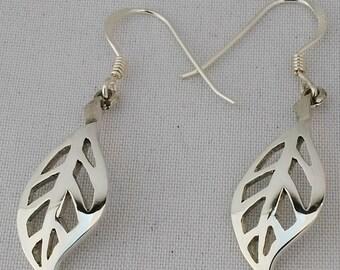 Sterling silver leave earrings
