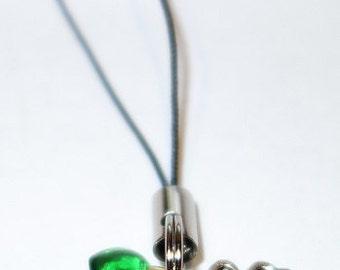 Four Leaf Clover & 5 Tiny Hearts Phone or Key Charm