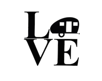 "Vinyl Decal, RV, Teardrop Glamper Camper ""LOVE"" Vinyl Decal RV Accessories, Travel Trailer, Caravan Travel"