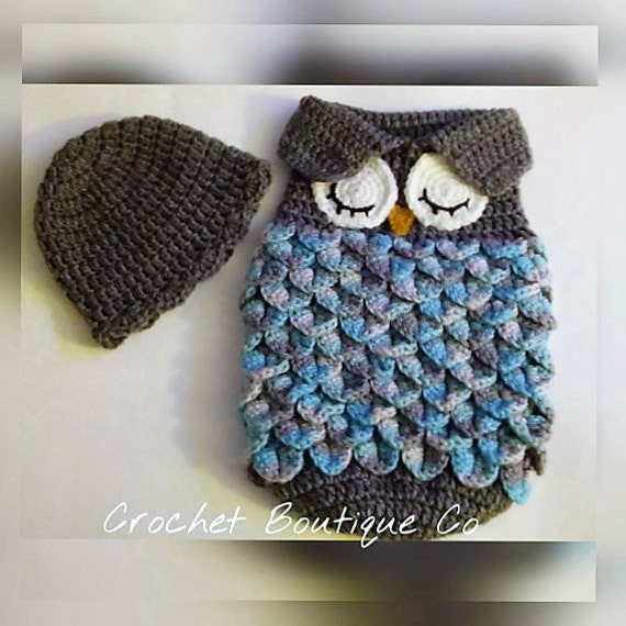 Crochet Patterns For Baby Sweater Sets : CROCHET PATTERN For Owl Baby Cocoon Papoose & by ...
