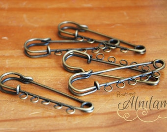 5 rings, rings pin pins, safety pin, pin safety pin charm, PIN to 5 rings, color bronze