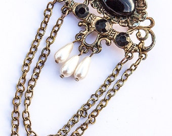 Large Victorian Revival Costume Jewelry Brooch, Free Shipping