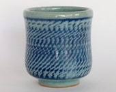 Clear Blue Glazed, Chattered Ceramic Cup, 8 oz.