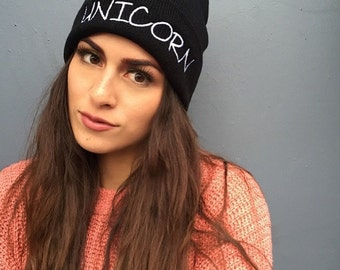 Unicorn Beanie, Unicorn Hat, Beanie Hats for Women, Embroidered Beanie, Beanies with Words
