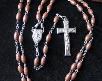Vintage Brown Sacred Heart of Jesus Christ Rosary #333
