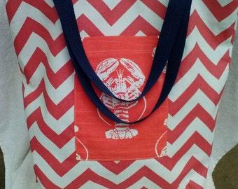 Chevron Tote Bag, Chevron Lobster Tote, bag, purse,tote bag, pocketbook, Pink White tote, Chevron Market Bag, Boat tote bag, 16x16x4n