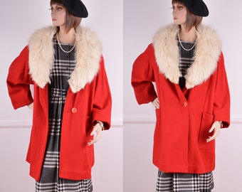 Vintage Red Wool Swing Coat