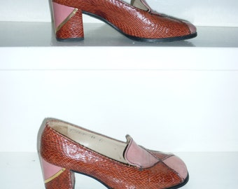 SALE | Mario Valentino exquisite '60 shoes | pink leather & orangy snake leather | Size 7
