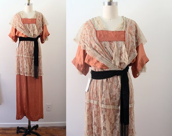Edwardian Gown / Crinkled Rose Gown / Vintage Antique Lace and Silk Titanic Era Evening Gown / XXS XS
