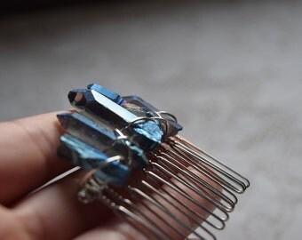 Blue Titanium Quartz Wire Wrapped Hair Comb