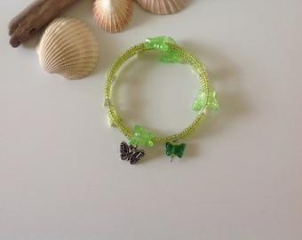 Lime Green Tropical Boho Butterfly Silver Memory Wire Charm Bracelet
