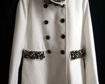 Hand Beaded Embellished Recycled Pea Coat