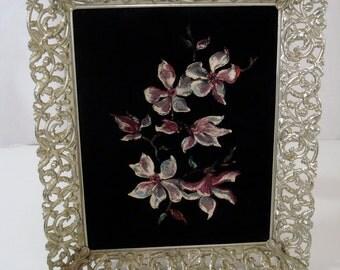 Vintage Flower Painting on Velvet in Ornate Metal Frame