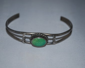 Sterling silver cuff bracelet with turquoise setting.