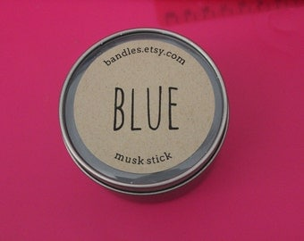 Musk Stick Blue Scented Soy Wax 6oz Travel Tin Candle