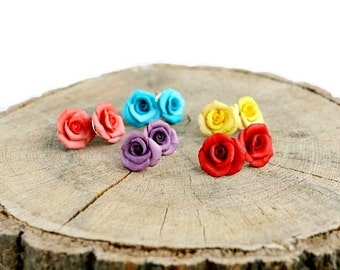 Rose stud earrings Little rose earring Flower studs Wedding floral studs Bridesmaid gift earrings Roses post earrings Tiny rose earrings