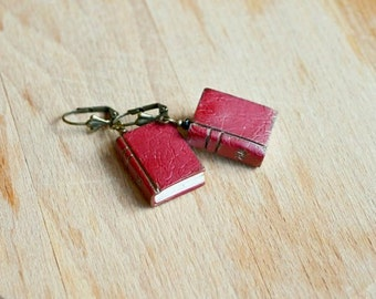 Miniature book earrings Mini book earrings Mini books jewelry gift Reader earrings Book lovers gift Book lover jewelry Miniature books gift