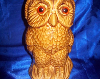 Large Ceramic Wise Old Owl with Glass Eyes