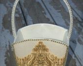 ivory flower girl basket, gold flower basket, large flower girl basket, flower girl basket, flower girl accessories, wedding basket