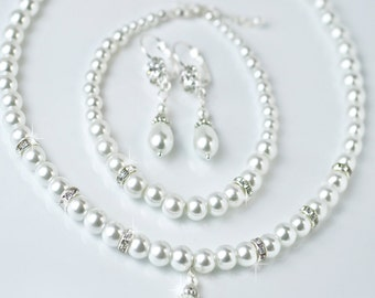 pearl bridal jewelry set, wedding jewelry set, back drop necklace, wedding jewelry, bridesmaid jewelry, pearl bridal set, bridesmaid gift