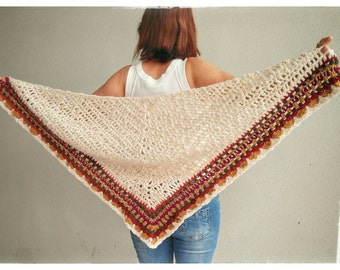 Crochet shawl, ivory with multicolor border.