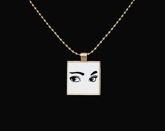 Eye pendant, cute necklace, eyelashes, makeup, cute pendant, silver pendant, statement jewelry, square pendant, jewelry, gifts for teens