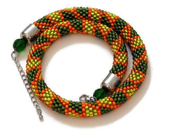 Bead crochet rope / statement necklace / crochet necklace / beaded necklace / bead jewelry / crochet rope / жгут из бисера / bead crochet