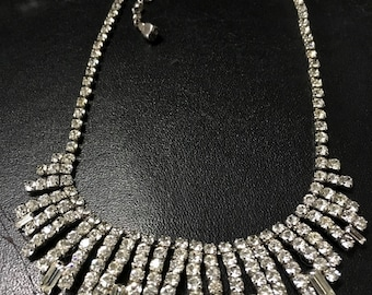 Diamante Statement Necklace, Vintage Glass Party Necklace, Rhinestone Necklace, Hollywood Glamour, Crystal Wedding Necklace, UK Sellers Only