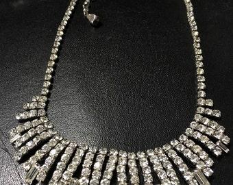 Diamante Statement Necklace, Vintage Party Necklace, Vintage Rhinestone Necklace, Hollywood Glamour, Wedding Necklace