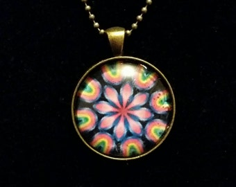 Colourful psychedelic hippie pendant necklace