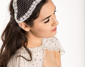 Juliet Cap, bridal headband, bridal head piece, wedding head band, wedding head piece, birdcage cap, wedding cap, Juliet cap, unique veil