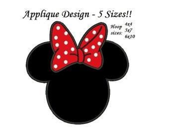 Minnie Mouse Applique Design - 5 sizes Instant Download