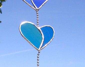 handmade stained glass string of hearts