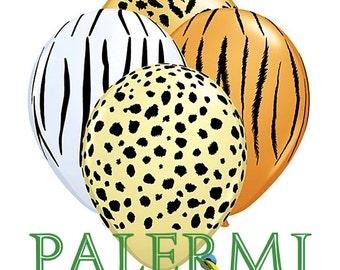 10x Animal Safari Latex Balloons, Animal Print Balloons Latex, Safari Birthday Balloons, Happy Birthday Polka Dots Balloons