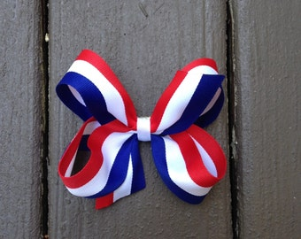 Red White Blue Grosgrain Bow Memorial Day Bow 4th of July Bow