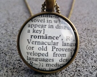 """Word Pendant and Chain """"Romance"""""""