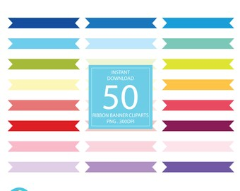 50 Rainbow Ribbon Banner Clipart, Banners Digital illustratrions PNG, ribbons tag label Clip art