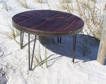 Round coffee table, Reclaimed wood table, Coffee table, Round table, Industrial table, Reclaimed furniture, Furniture, Industrial furniture