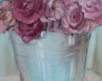 Pink peonies in a bucket