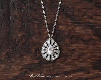 0.65 ct.tw Milgrain Vintage Teardrop Pendant Necklace-Pear Cut Diamond Simulant-Bridal Necklace-Solid Sterling Silver [1754]